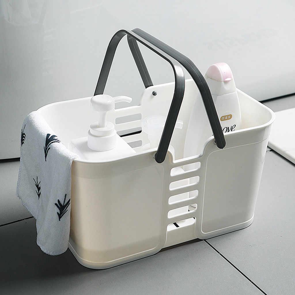 Rotan Plastik Keranjang Kamar Mandi Penyimpanan Keranjang dengan Menangani Rumah Tangga Penyimpanan Alat Kapasitas Besar Mandi Laundry Basket Z3