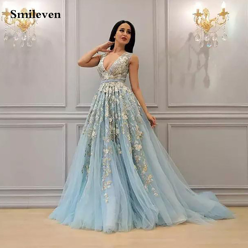 Smileven Princess Formal Evening Dresses 2020 A Line V Neck 3D Flowers Evening Party Gowns Side Split Peplum Occasion Prom Gown