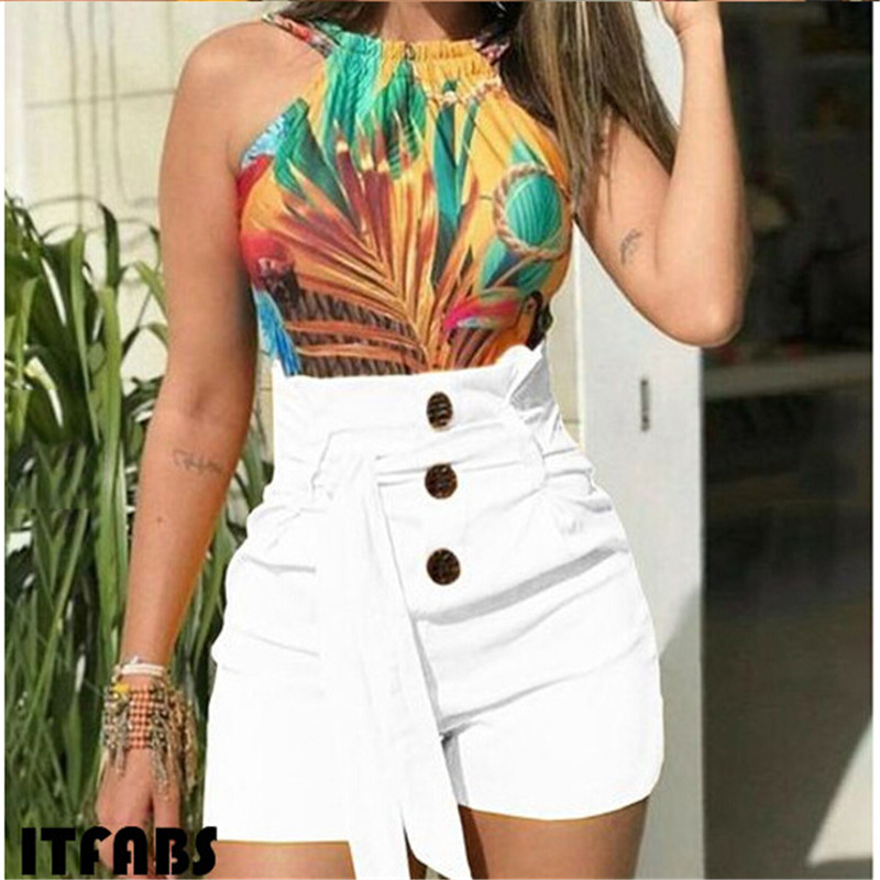 Fashion Stylish High Waist Shorts Women Casual Button With Belt Sexy Ladies Hot Shorts Womens Streetwear Short Trousers