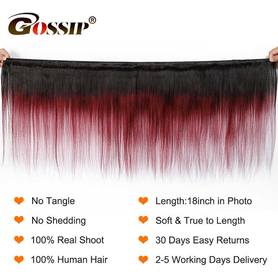 Gossip Ombre Brazilian Straight Hair Weave Bundles Two Tone Human Hair Bundles Double Weft Hair Extension Remy1b/99J Color