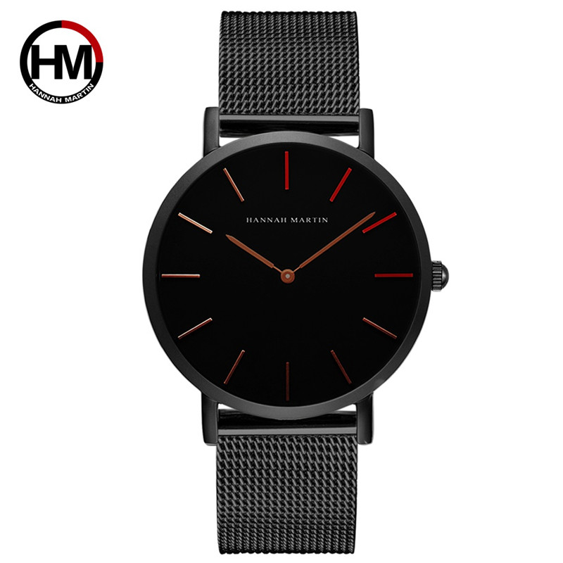Hannah Martin Men Watches 2020 Top Brand Luxury Quartz Clock Business Stainless Steel Strap Waterproof Watch Erkek Kol Saati