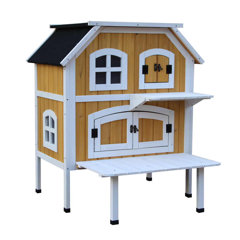 【US Warehouse】2-Story <font><b>Wooden</b></font> Raised Elevated Cat Cottage Pet House Indoor Outdoor <font><b>Kennel</b></font> Free Shipping US image