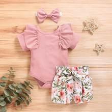 Uds recién nacido conjunto de ropa para niñas pequeñas de pijama Tops Floral pantalones cortos estampados diadema bebé recién nacido trajes de verano