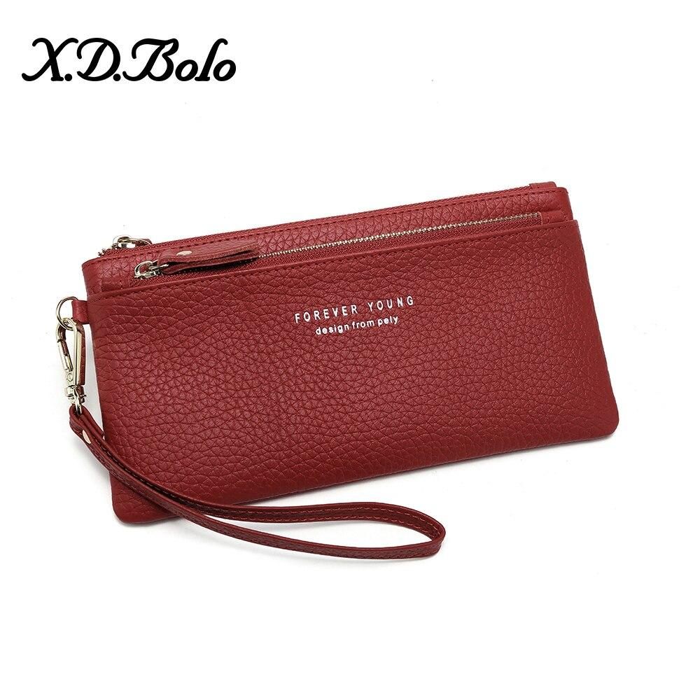 X.D.BOLO Genuine Leather Wallet Fashion Women Leather Wallet Card Holder Wallet Female Coin Pocket Wallets For Women