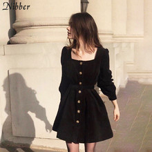 Nibber autumn simple Harajuku Pleated dress womens 2019fall winter club party night office leisure stretch Slim mini dress mujer