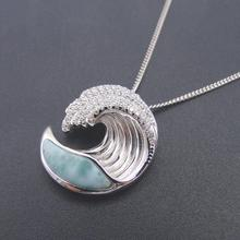 Hot Selling 925 Sterling Silver Natural Dominica Larimar Stone Wave Pendant Necklace for Women Gift