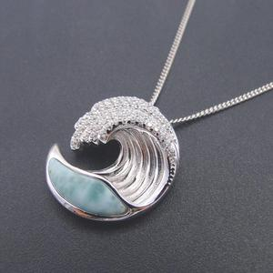 Image 1 - Hot Selling 925 Sterling Silver Natural Dominica Larimar Stone Wave Pendant Necklace for Women Gift