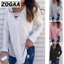 Lace Up T-Shirt Woman Solid Pullover Tee Top Femme Sexy V Neck Bandage Long Sleeve 4 Colors ZOGAA