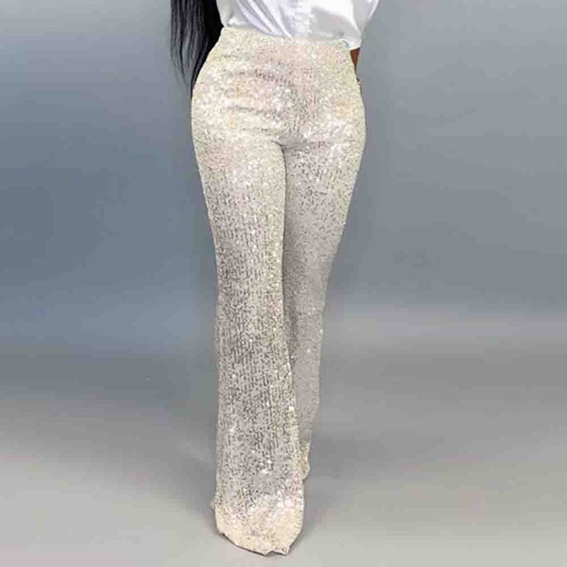 Squins Long Pants Women High Waist Elegant 2019 Black White African Wide Legs Pants Trousers Party Club Buttoms Femme