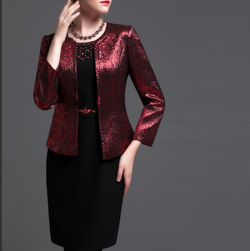 Autumn Winter Fashion Two Piece Dresses Suits Middle Aged Mother Blazer Dress Beading Formal Purple Plus Size 4xl Womens Busines
