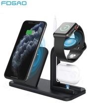 FDGAO Qi Station daccueil chargeur sans fil pour iPhone 11 X XR XS Max 8 Plus Apple Watch AirPods Pro 3 en 1 10W support de charge rapide