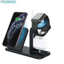 Fdgao Qi Draadloze Oplader Dock Station Voor Iphone 11 X Xr Xs Max 8 Plus Apple Horloge Airpods Pro 3 in 1 10W Fast Charging Stand