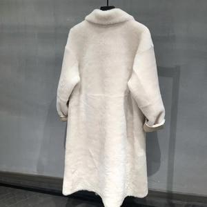 Image 2 - Real fur coat women plus size 2019 fashion leopard print genuine Merino sheepskin leather jacket double breasted long coat femal