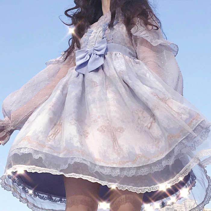 ゴシックヴィンテージスウィートロリータドレス宮殿レースちょう結び印刷ハイウエストビクトリア朝ドレスかわいいガールゴシックロリータ jsk cos