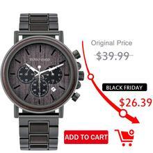 BOBO BIRD montre bracelet en bois pour hommes, chronomètre, affichage, boîte cadeau, entrepôt américain