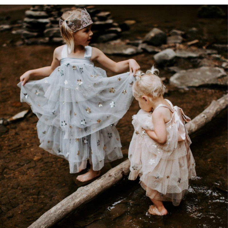 Girls tutu dress Sequin Star Backless  Children Glitter Wedding Tulle Dress Baby Overskirt Pleated Chiffon Gown Boutique