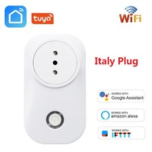 Italia Wifi Smart Socket Nirkabel Italia Plug Outlet Tuya Kehidupan Cerdas Aplikasi Timming Power Monitor untuk Alexa Google Home Ifttt(China)