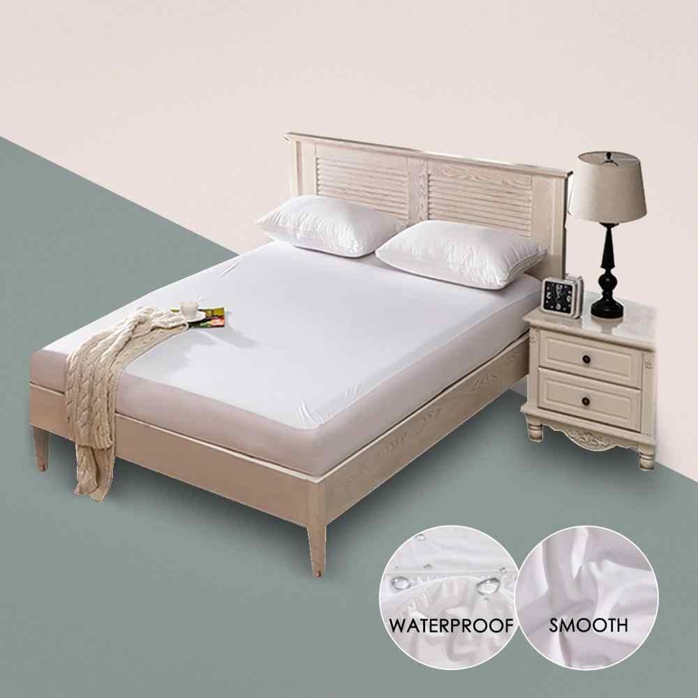 Glatte Wasserdichte Matratze Schutz Abdeckung Für Bett Solide Weiß Benetzung Atmungsaktive Hypoallergen Schutz Pad Abdeckung Anti-milbe