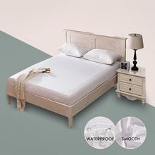 Funda protectora de colchón suave impermeable para cama Blanco sólido humectante transpirable protección hipoalergénica almohadilla cubierta antiácaros