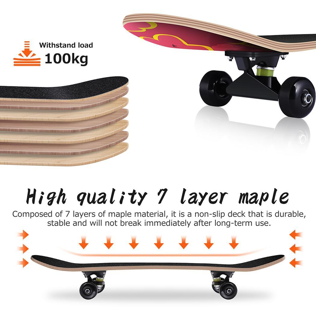 Skateboard Maple 4 Wheels Double Rocker Board Teenager Adult Figure Skating Street 3 Colors Double Up Board Red Colors Frosted 6