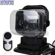 60W 7 Inch 360 Degree Wireless Remote Control Led Spotlight Marine Search Light 12/24v For Truck Off road 4x4 Boat