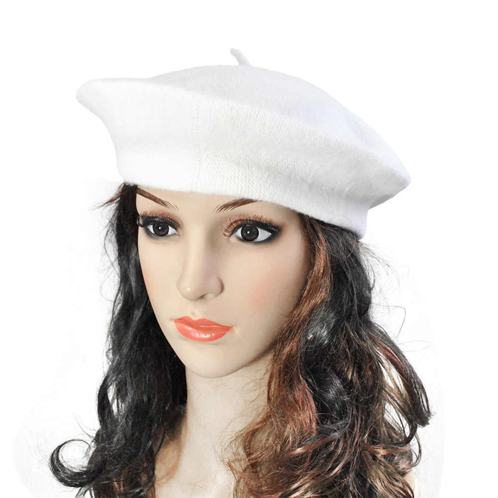2019 outono boina chapéu pintor chapéu liso feminino boinas de lã do vintage chapéu cor sólida bonnet casquette feminino quente inverno boné