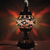 판매 터키어 수동 모자이크 책상 램프 빛 호텔 빛 유약 장식 작은 밤 빛 LED 책상 램프