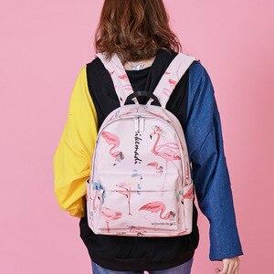 Image 5 - Flamingo Printing Mini Vrouwen Rugzak Waterdicht Nylon College Student Schooltassen Voor Tienermeisjes Boekentas Vrouwelijke Casual Daily