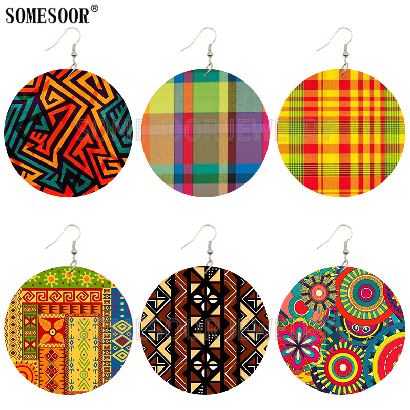 SOMESOOR 2020 Creative Design Fashion Africa Jewelry Bohemian Wooden Both Printing Round Pendants Black Earrings For Women Gifts