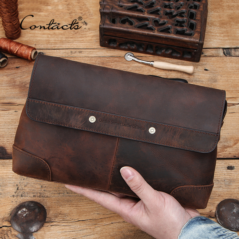 CONTACT'S Men Clutch Bags Large Capacity Men Wallets Crazy Horse Leather Long Purse Male Multifunction Wallet Passport Cover