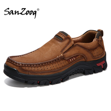 Adult Men Leather Shoes Genuine Zapatos Hombre Cuero Genuino Hot Sale High Quality Autumn Slip on