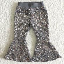 Лидер продаж, Детские Модные брюки, высококачественные хлопковые брюки с блестками, Однотонные эластичные брюки для маленьких девочек