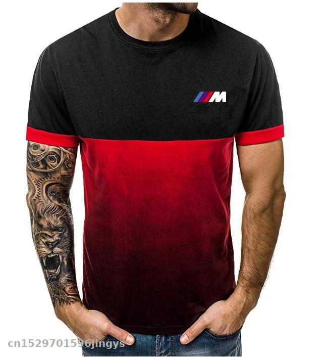 Sports Fitness Gradient Stitching Short-sleeved T-shirt Fashion Men For Bmw M T Shirts Men's Summer T-Shirt Clothes Motocross
