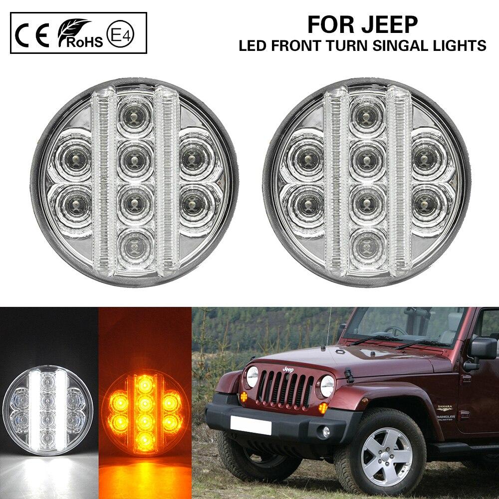2x Front LED Turn Signal//Indicators Light for 2007-2017 Jeep Wrangler JK