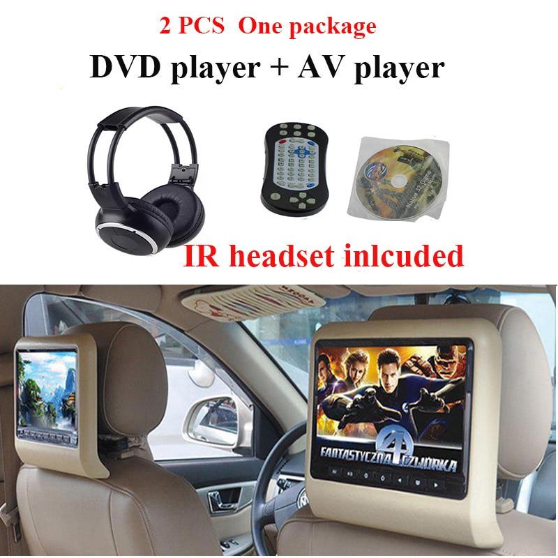 DVD + AV 2 PCS Car Headrest Dvd Player With USB/SD/IR/FM/ Wireless Games 800*480 Car Lcd Monitor Car Headrest Screen Car Tv Mp5