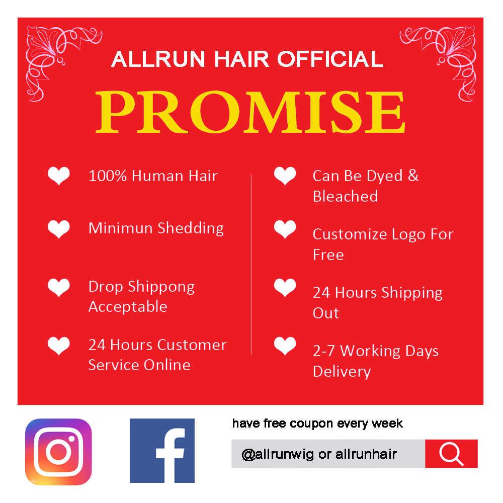 Allrun 13*4 frente do laço perucas de cabelo humano para as mulheres peruca de cabelo brasileiro onda do corpo 360 perucas frontal do laço peruca de cabelo humano não remy