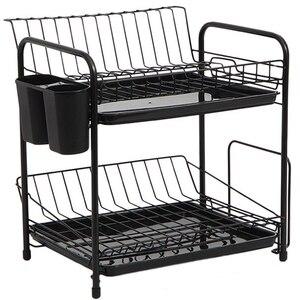 Juego de estante para platos organizador de cocina de 2 niveles plato cuchara Marco de almacenamiento tazón de drenaje de acero plato de cocina en estante