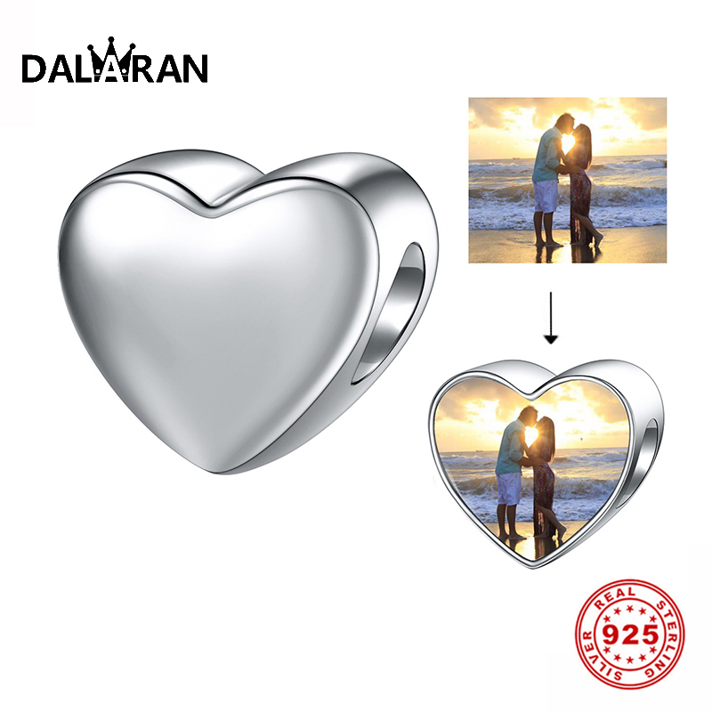 DALARAN New Arrival DIY Heart Shape Beads For Women Custom Photo Charm 925 Sterling Silver Jewelry Bracelet Making Unique Gift