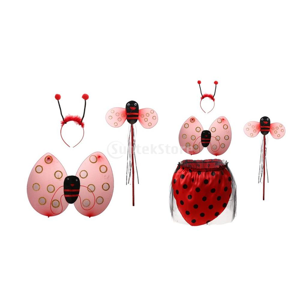 3Pcs/set Princess Kids Girl Ladybird Bee Wing Wand Headband Fairy Party Costume