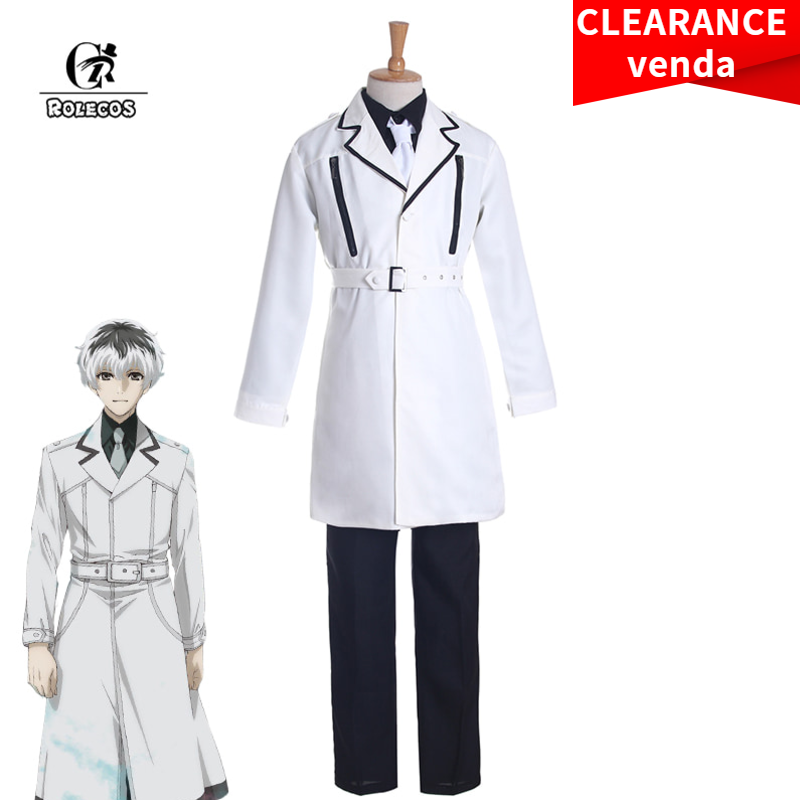 ROLECOS Tokyo Kushu:re Cosplay Costume Haise Sasaki Cosplay Aime Uomini Costume Tokyo Ghoul Set Completo Bianco 2018 Nuovo Anim