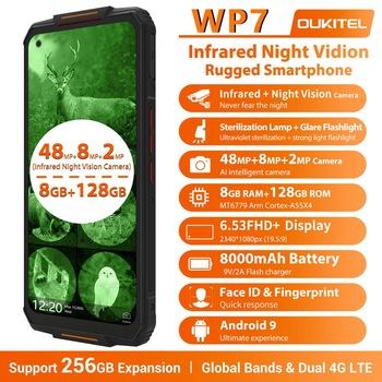 OUKITEL WP7 Ip68 Rugged Waterproof Smartphone 8GB 128GB Mobile Phone 9V/2A 8000mAh 48MP Triple Camera Infrared Night Vision