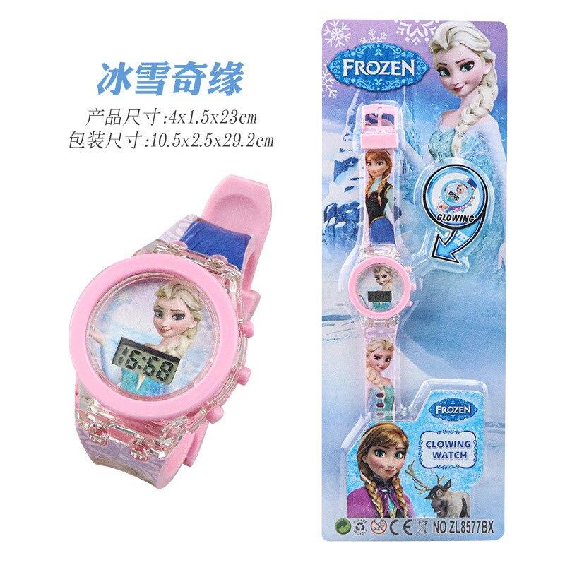 Подлинный детский% 27 мультфильм мигающий свет электронный часы светящийся часы человек-паук Эльза свет игрушка часы ученик подарок