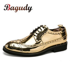 Image 1 - Брендовые Мужские модельные туфли; Золотые блестящие мужские официальные туфли; Мокасины; Итальянская кожа; Роскошные модные свадебные туфли оксфорды; Мужская обувь; 46