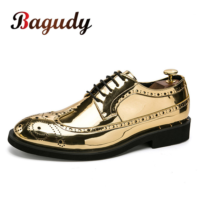 Brand Men Dress Shoes gold Glitter Men Formal Shoes Moccasins Italian Leather Luxury Fashion Wedding Oxford Shoes Mens shoes 46