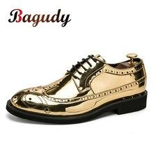 Marka erkek elbise ayakkabı altın Glitter erkekler resmi ayakkabı Moccasins İtalyan deri lüks moda düğün Oxford ayakkabı erkek ayakkabıları 46