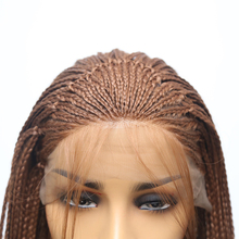 Natural Hairline Synthetic Lace Front Wig Brown Color Braided Box Braids Wig With Baby Hair Braided Wigs