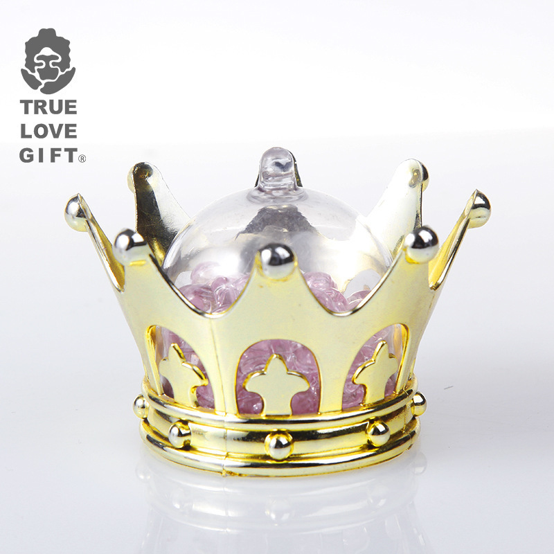 24pcs Crown Silver Gold Plastic Baby Baptism Birthday Party Candy Packaging Gift Box коробка упаковка Transparent Candy Box