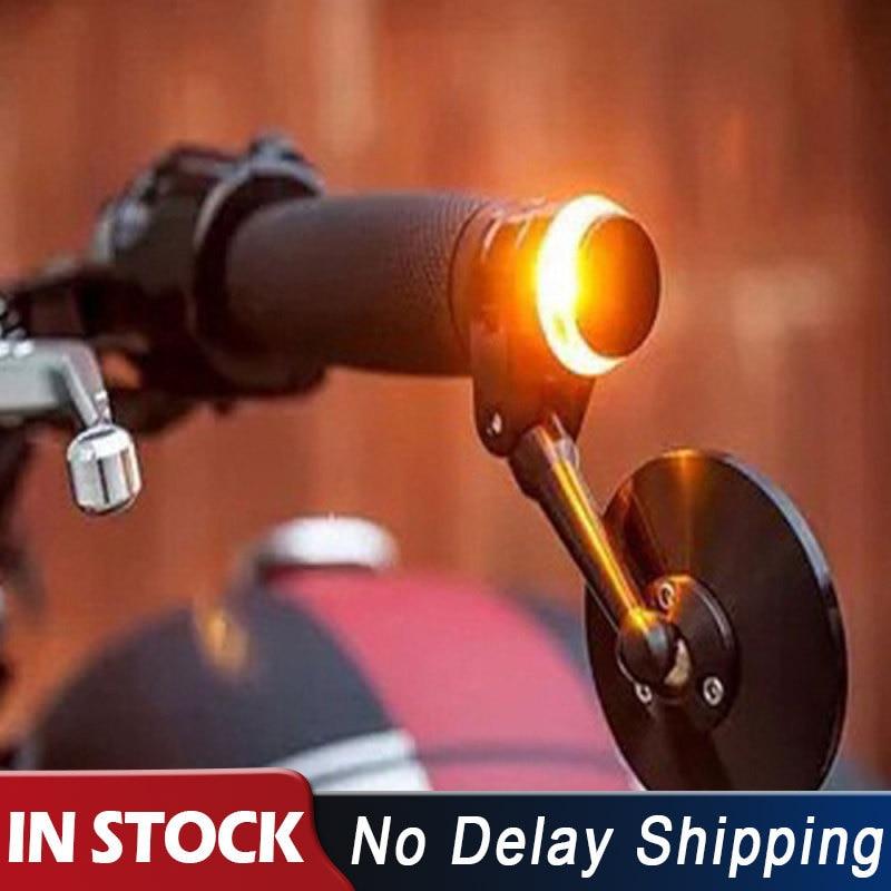 1x LED Motorcycle Handlebar End Turn Signal Light Yellow Universal 22mm Indicator Flasher Handle Bar Blinker Side Marker Lamp