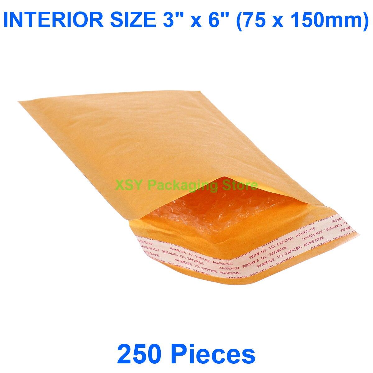 """250 шт крафт конверты с пузырчатой плёнкой внутри размер 3 """"x 6"""" (75x150 мм) почтовые отправители маленькие почтовые пакеты"""
