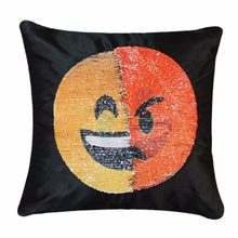 Cute DIY Changing Face Emoji Decorative Pillows Sequin Pillow Smile Face Pillow Case Sofa Cushion Cover Household Decorations(China)